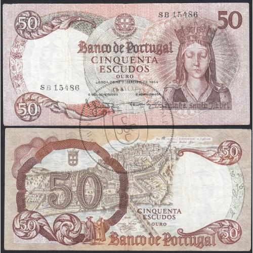 Nota de 50 Escudos 1964 Rainha Santa Isabel, 50$00 28/02/1964 Chapa: 8 - Banco de Portugal (Circulada +)