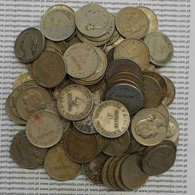 LOTE DE 100 MOEDAS DE QUATRO CENTAVOS (4 CENTAVOS) CUPRO-NÍQUEL 1917