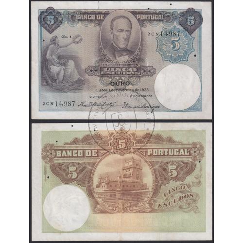 Nota de 5 Escudos 1923 Alexandre Herculano, 5$00 01/02/1923 Chapa: 1 - Banco de Portugal (Circulada)