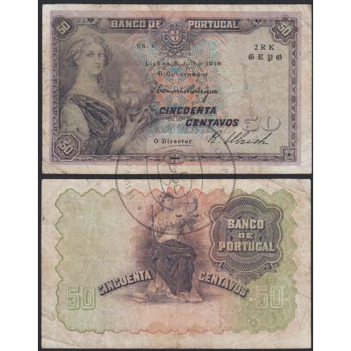 Nota de 50 centavos 1918 'Mulher c/barco na mão', 0$50 05/07/1918 Chapa: 1 - Banco de Portugal (Circulada)