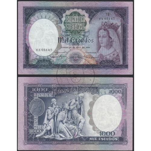 Nota de 1000 Escudos 1961 D.Filipa de Lencastre, 1000$00 30/05/1961 Chapa: 8A - Banco de Portugal (Circulada)