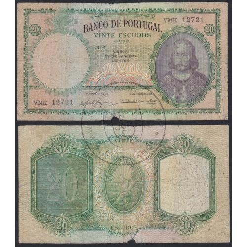 Capicua - Nota de 20 Escudos 1959 D.António Luiz de Menezes, 20$00 27/01/1959 Chapa: 6 - Banco de Portugal (Circulada)