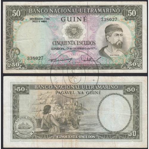 """Nota de 50 Escudos 1971 (Circulada) """"50$00 1971 Nuno Tristão - Banco Nacional Ultramarino (17/12/1971) - Guiné"""