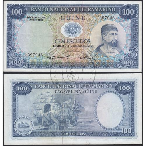 """Nota de 100 Escudos 1971 (Circulada) """"100$00 1971 Nuno Tristão - Banco Nacional Ultramarino (17/12/1971) - Guiné"""