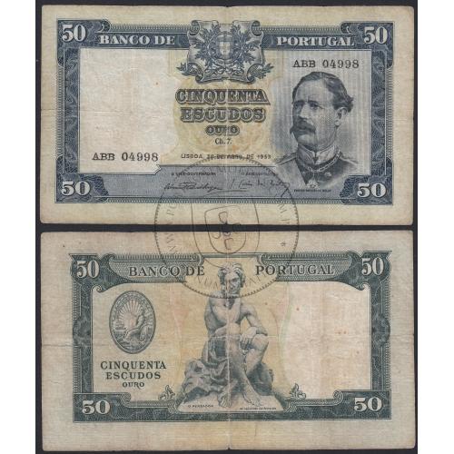 """Nota de 50 Escudos 1953 (Circulada) """"50$00 1953 Ch.7 Fontes Pereira de Mello - Banco de Portugal (28/04/1953)"""