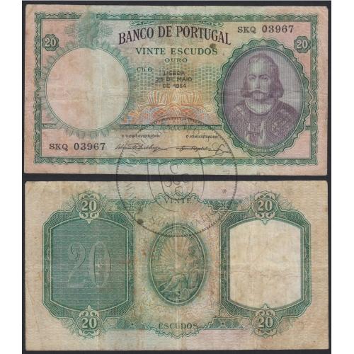 """Nota de 20 Escudos 1954 ( Circulada ) """"20$00 1954 Ch.6 D.António Luiz de Menezes - Banco de Portugal (25/05/1954)"""