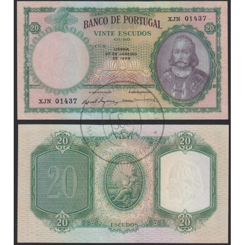 Nota de 20 Escudos 1959 D.António Luiz de Menezes, 20$00 27/01/1959 Chapa: 6 - Banco de Portugal (Muito Pouco Circulada)