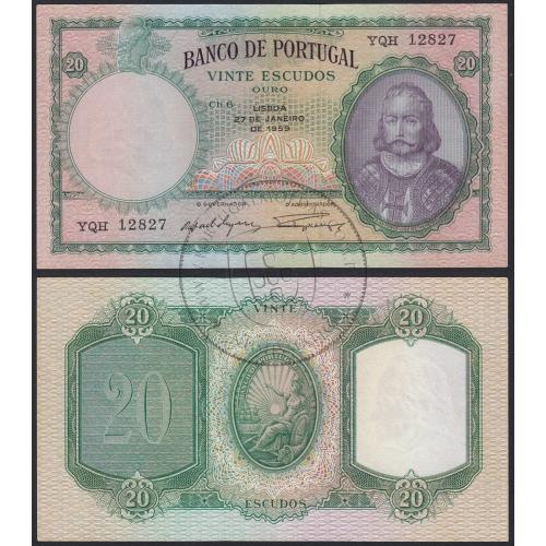 Nota de 20 Escudos 1959 D.António Luiz de Menezes, 20$00 27/01/1959 Chapa: 6 - Banco de Portugal (Não Circulada)