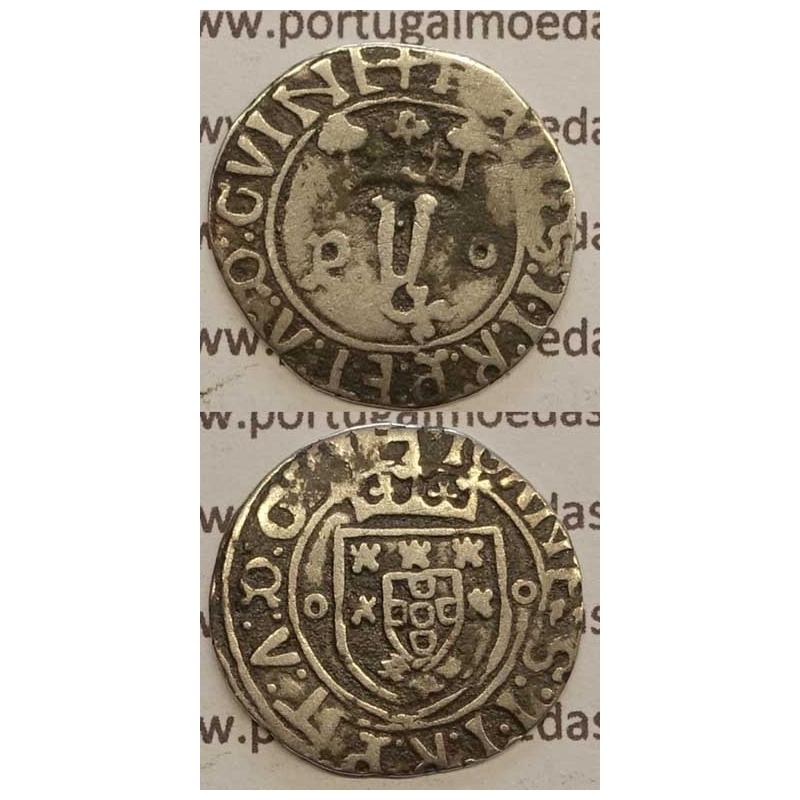 """MOEDA VINTÉM - PRATA 1481-1495 - D. JOÃO II - """"P"""" PORTO / ESCUDOS COM 1 BESANTE"""
