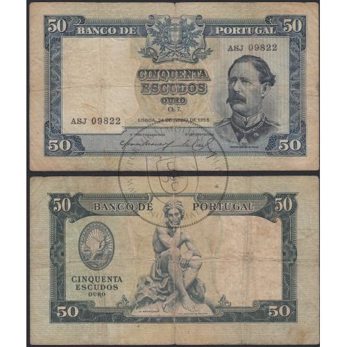 """Nota de 50 Escudos 1955 ( Circulada ) """"50$00 1955 Ch.7 Fontes Pereira de Mello - Banco de Portugal (24/06/1955)"""