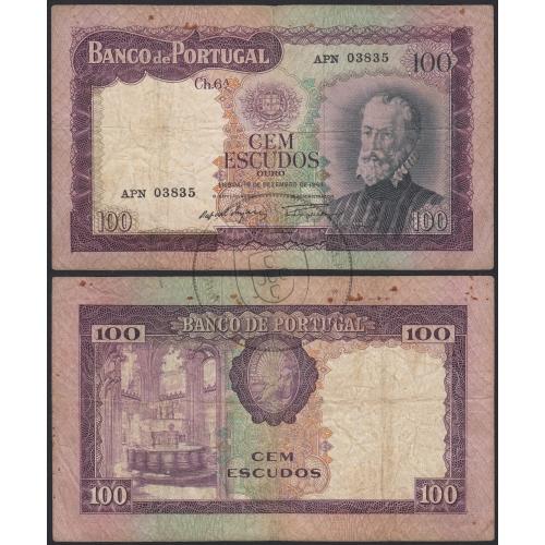 Nota de 100 Escudos 1961 Pedro Nunes, 100$00 19/12/1961 Chapa: 6A - Banco de Portugal (Circulada)