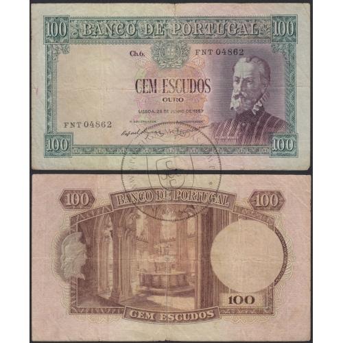 Nota de 100 Escudos 1957 Pedro Nunes, 100$00 25/06/1957 Chapa: 6 - Banco de Portugal (Muito Circulada)