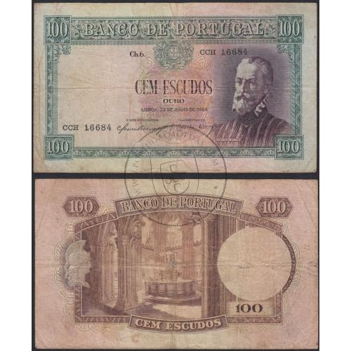 Nota de 100 Escudos 1954 Pedro Nunes, 100$00 22/06/1954 Chapa: 6 - Banco de Portugal (Circulada)