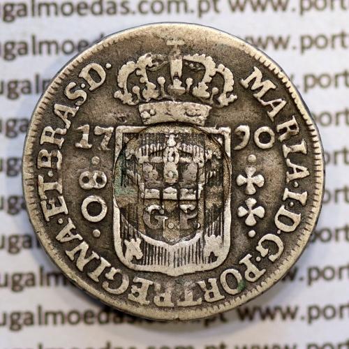 """Carimbo GP Coroado dos Açores de D. Luis I, sobre 80 réis prata 1790 do Brasil de D. Maria I, """"Lei de 31 de Março de 1887"""""""