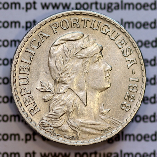 1 Escudo 1928 Alpaca, 1$00 1928 alpaca Republica Portuguesa, (Bela), World Coins Portugal  KM 578