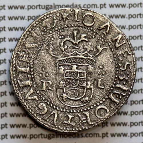 "Tostão Prata D. João III 1521-1557, Lisboa ""R-L"", Inédita, Legenda: :✶:IOANES:3:R:PORTGALIE:AL:D / ㊋IN:✠:HOC:✠:SIGNO:✠VINCES:"