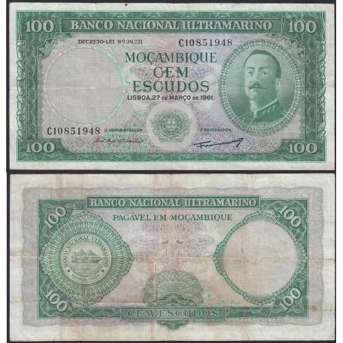 Nota Cem Escudos 1961 Aires de Ornelas, 100 Escudos 27/03/1961 - Moçambique Pick 109 (Circulada)