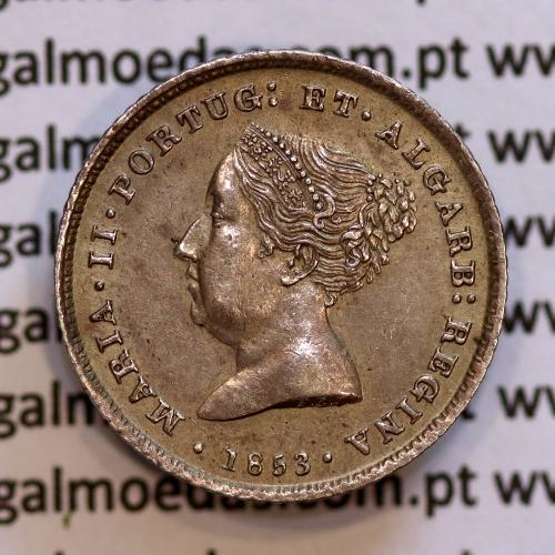100 réis 1853 prata D. Maria II, Tostão prata 1853, (Bela), World Coins  Portugal KM 488.