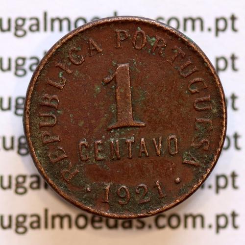 "1 centavo 1921 Bronze, ""$01 centavo 1921"" (MBC), World Coins Portugal  KM 565"