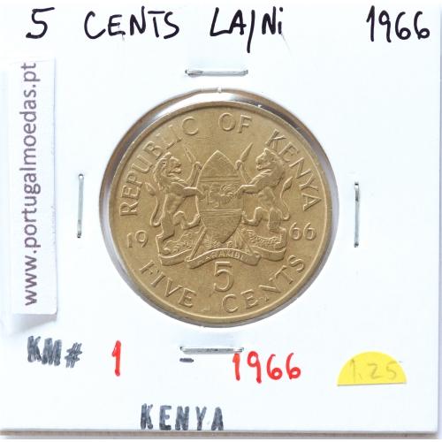 Quénia 5 cêntimos 1966 Latão-Níquel, Kenya 5 cents 1966 Nickel brass, World Coins - Kenya KM 1