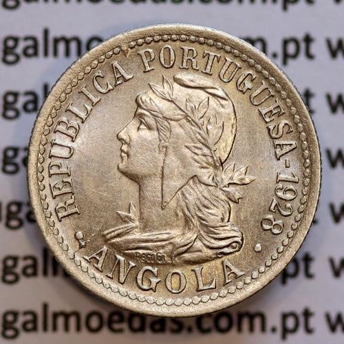 """Angola 2 Macutas 1928 em alpaca, """"10 centavos 1928 Angola"""" (Bela) - Ex- Colónia Angola - World Coins Angola KM 67"""