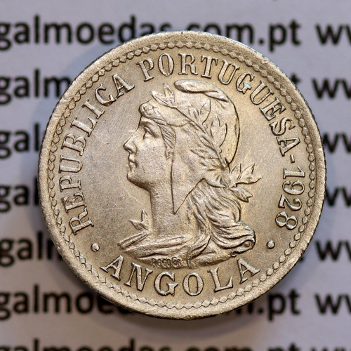 """Angola, II Macutas 1928 em alpaca, """" 2 Macutas ou 10 centavos 1928"""", (Bela), Ex- Colónia Angola - World Coins Angola KM 67"""