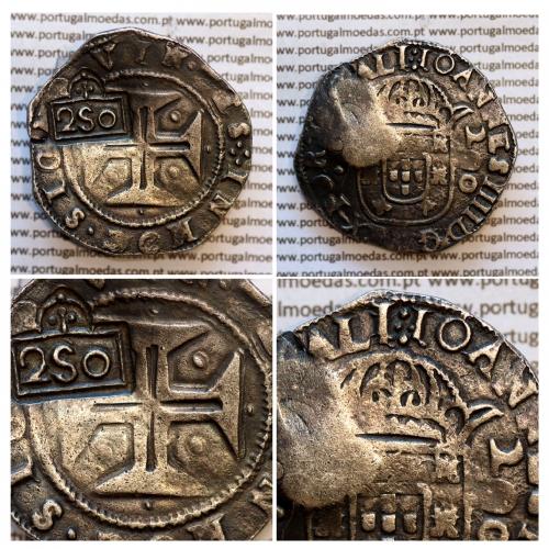 Carimbo de 250 Réis de D. Afonso VI, sobre Meio Cruzado Prata de D. João IV, Anv. Coroa perolada, Rev. Cruz cercada por pontos