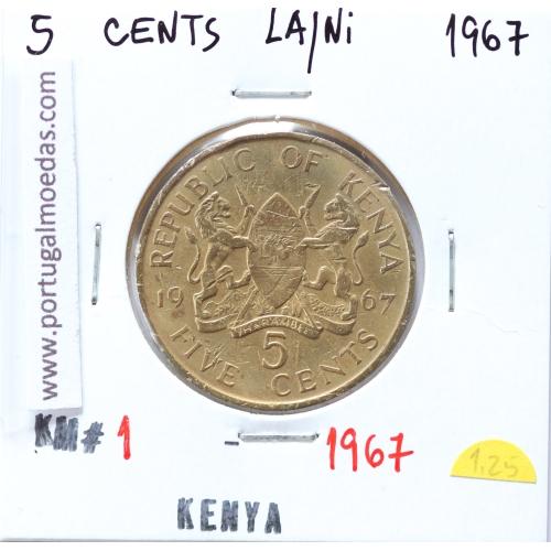 Quénia 5 cêntimos 1967 Latão-Níquel, Kenya 5 cents 1967 Nickel brass, World Coins - Kenya KM 1