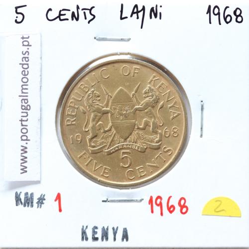 Quénia 5 cêntimos 1968 Latão-Níquel, Kenya 5 cents 1968 Nickel brass, World Coins - Kenya KM 1