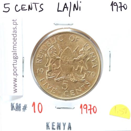 Quénia 5 cêntimos 1970 Latão-Níquel, Kenya 5 cents 1970 Nickel brass, World Coins - Kenya KM 10