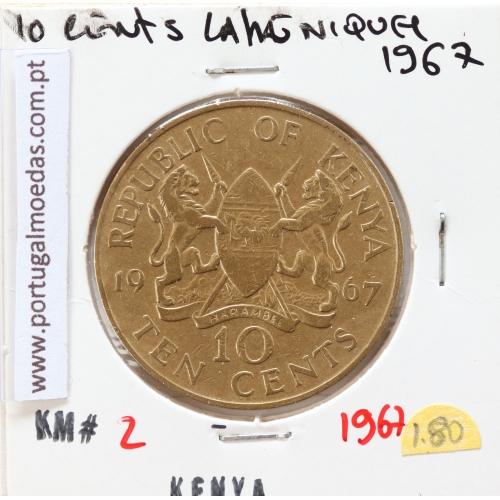 Quénia 10 cêntimos 1967 Latão-Níquel, Kenya 10 cents 1967 Nickel brass, World Coins - Kenya KM 2