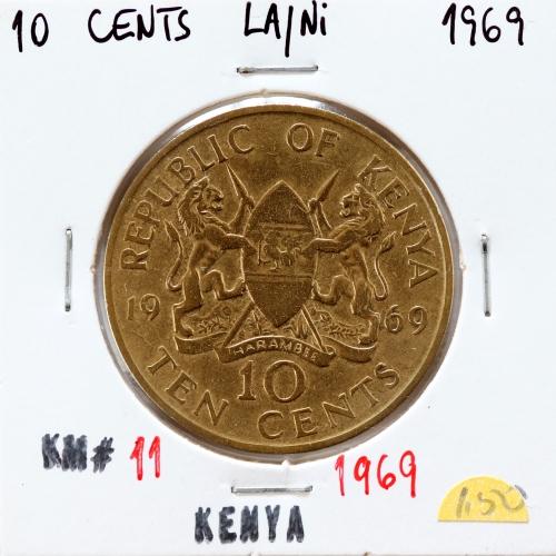 Quénia 10 cêntimos 1969 Latão-Níquel, Kenya 10 cents 1969 Nickel brass, World Coins - Kenya KM 11