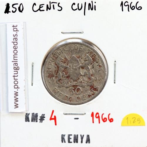 Quénia 50 cêntimos 1966 Cupro-Níquel, Kenya 50 cents 1966 Copper Nickel , World Coins - Kenya KM 4