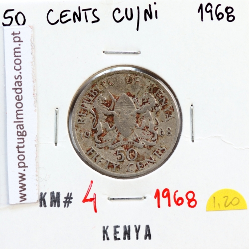 Quénia 50 cêntimos 1968 Cupro-Níquel, Kenya 50 cents 1968 Copper Nickel , World Coins - Kenya KM 4