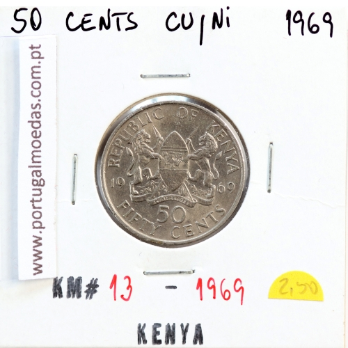 Quénia 50 cêntimos 1969 Cupro-Níquel, Kenya 50 cents 1969 Copper Nickel , World Coins - Kenya KM 13