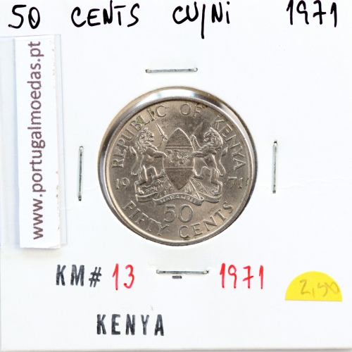 Quénia 50 cêntimos 1971 Cupro-Níquel, Kenya 50 cents 1971 Copper Nickel , World Coins - Kenya KM 13