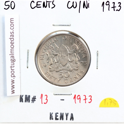 Quénia 50 cêntimos 1973 Cupro-Níquel, Kenya 50 cents 1973 Copper Nickel , World Coins - Kenya KM 13