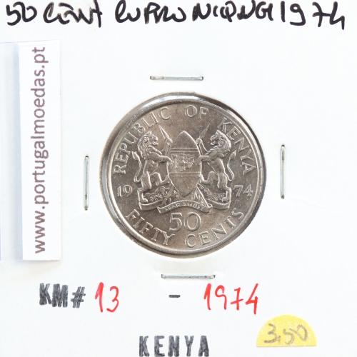 Quénia 50 cêntimos 1974 Cupro-Níquel, Kenya 50 cents 1974 Copper Nickel , World Coins - Kenya KM 13