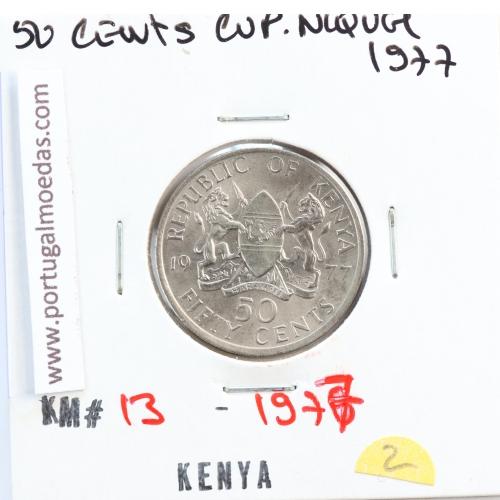 Quénia 50 cêntimos 1978 Cupro-Níquel, Kenya 50 cents 1978 Copper Nickel , World Coins - Kenya KM 13