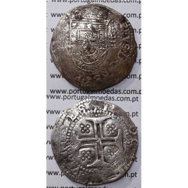 MOEDA TOSTÃO - PRATA 1598-1621- D. FILIPE II / CRUZ CERCADA POR PONTOS