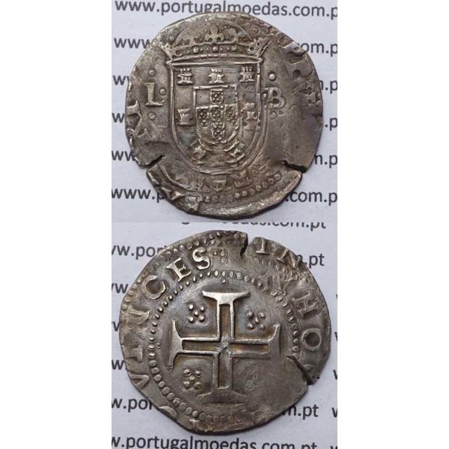 MOEDA TOSTÃO - PRATA 1598-1621 / CRUZ CERCADA POR PONTOS - D. FILIPE II