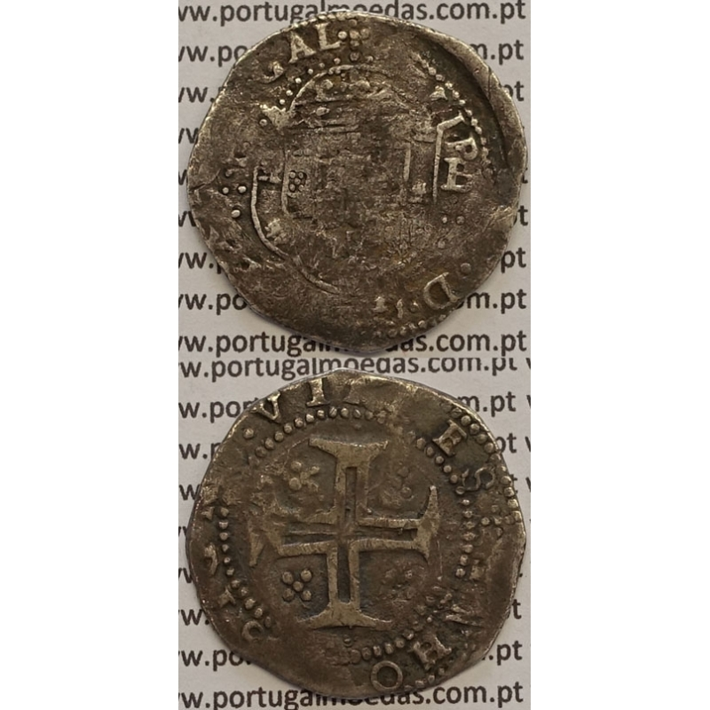 MOEDA TOSTÃO PRATA 1598-1621 / CRUZ CERCADA POR PONTOS D. FILIPE II