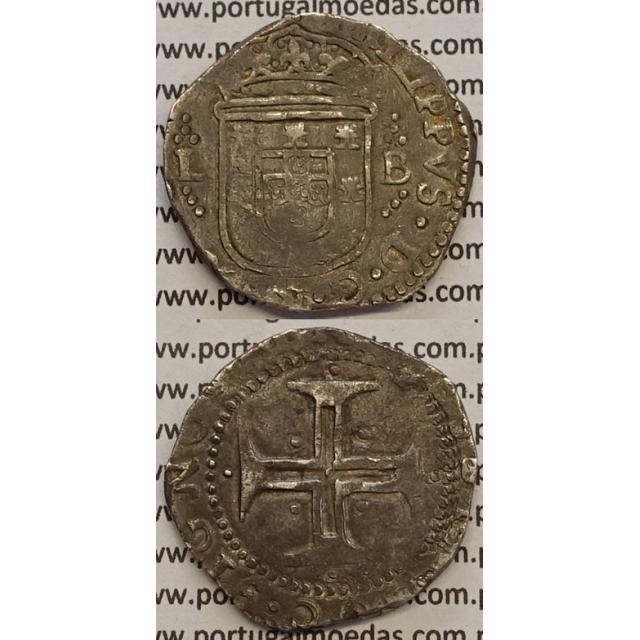 MOEDA TOSTÃO PRATA 1598-1621 - D. FILIPE II / CRUZ CERCADA POR PONTOS