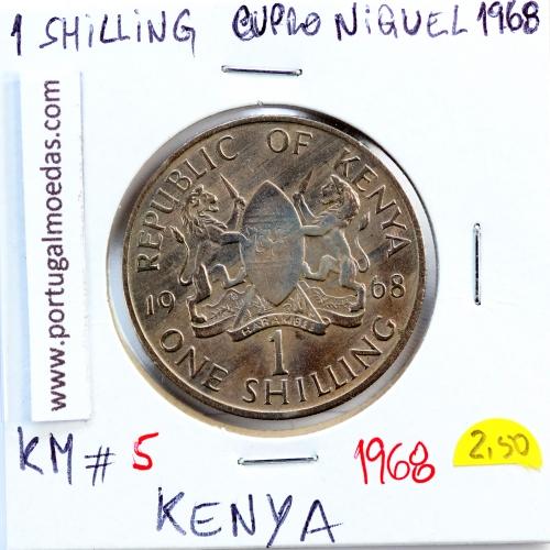Quénia 1 shilling 1968 Cupro-Níquel, Kenya 1shilling 1968 Copper Nickel , World Coins - Kenya KM 5