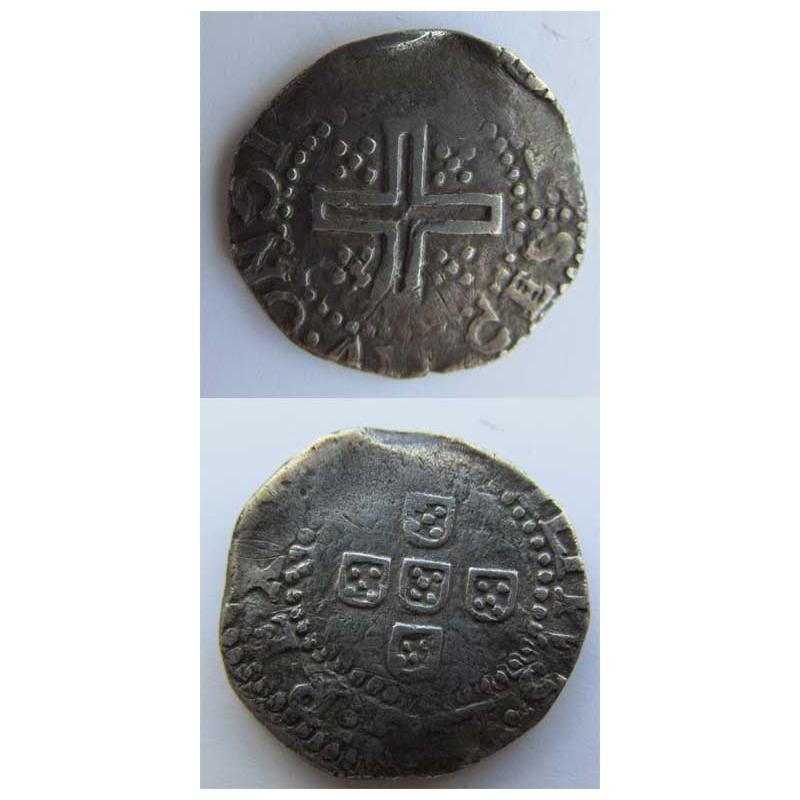 MEIO TOSTÃO - PRATA 1621-1640 (BC) LEGENDA DO REVERSO EM SENTIDO CONTRÁRIO
