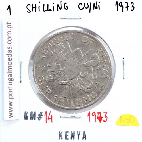 Quénia 1 shilling 1973 Cupro-Níquel, Kenya 1 shilling 1973 Copper Nickel , World Coins - Kenya KM 14
