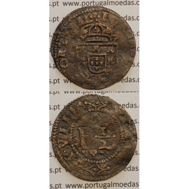 "REAL E MEIO - COBRE 1640-1656 (BC+) ""28mm"" IOANNES IIII D G REX PORTVGAL"