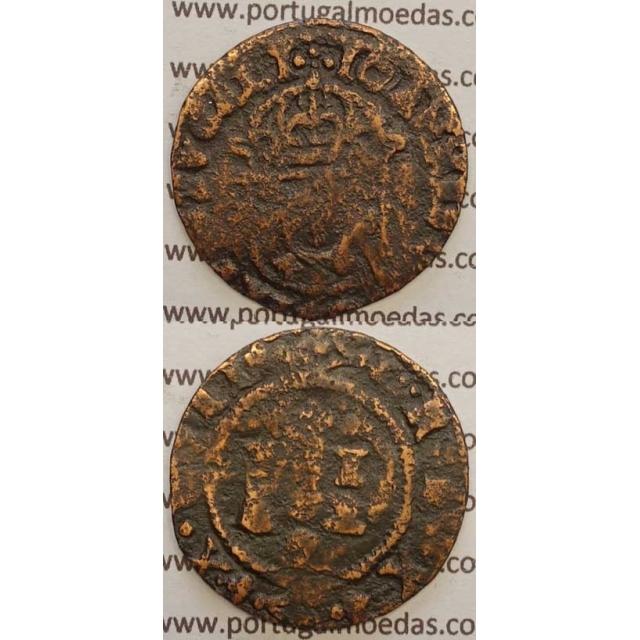 REAL E MEIO - COBRE 1640-1656 (REG/BC-) COROA DE REI PEROLADA