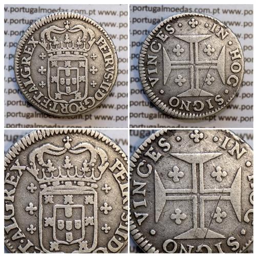 6 Vinténs Prata D. Pedro II 1683-1706, (120 Réis), A/ coroa corta a legenda, R/ legenda separada por pontos (A. Gomes P2.50.05)