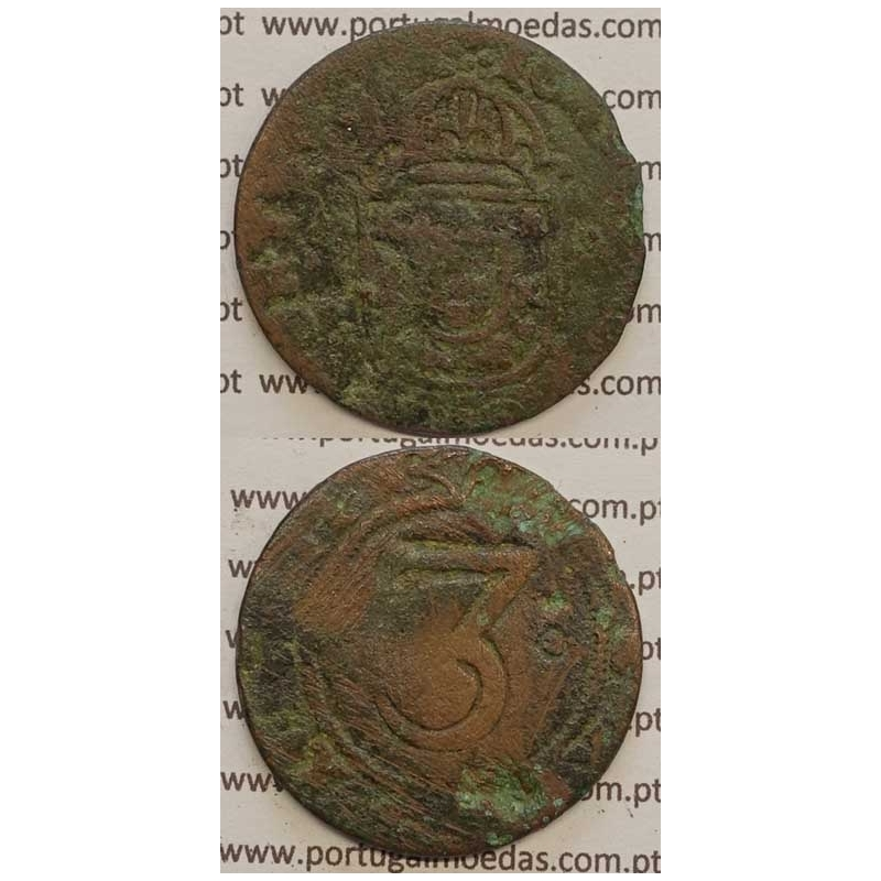 3 RÉIS COBRE 1640-1656 (BC-) COROA LISA IOANNES IIII D G REX PORTVGALI